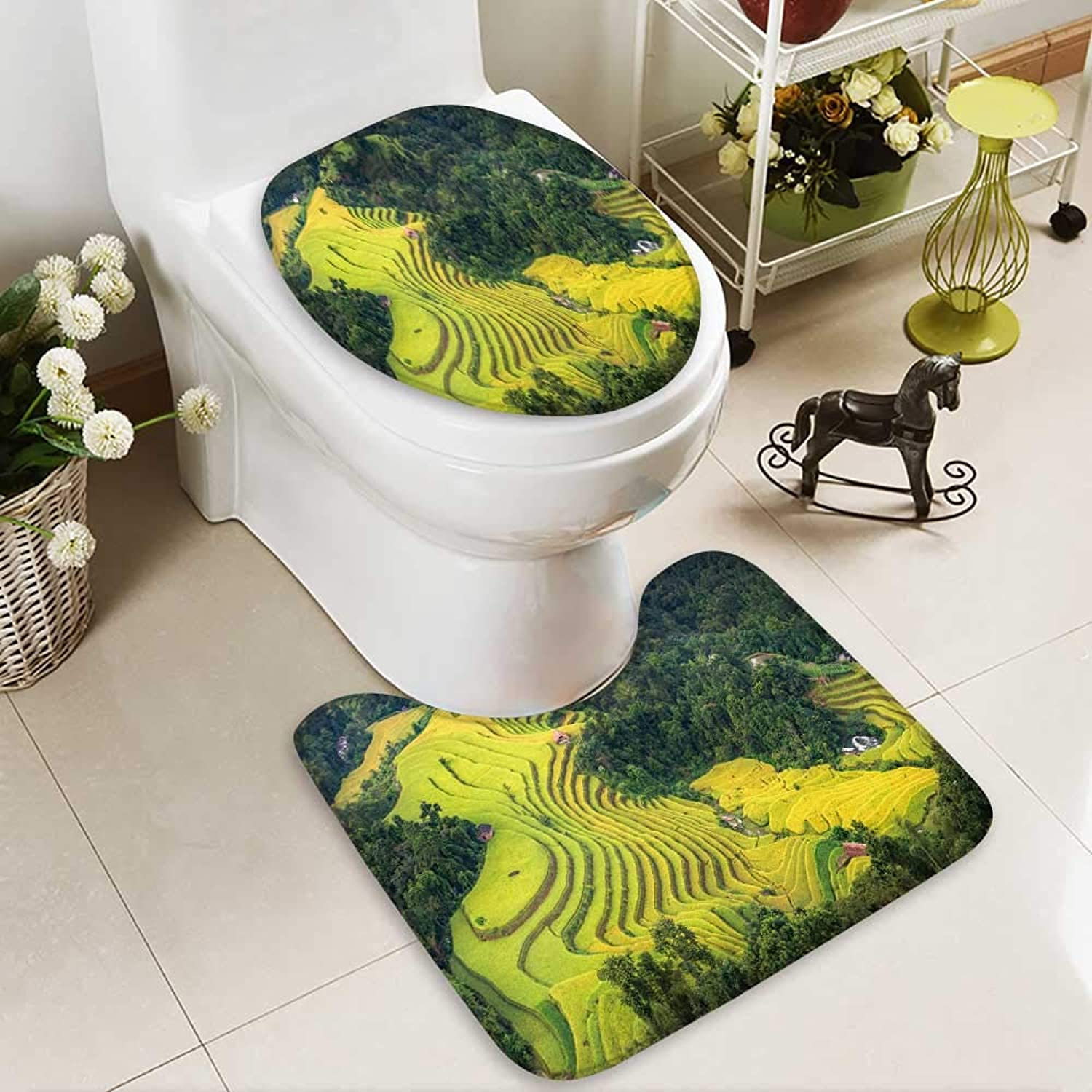 Bathroom Non-Slip Floor Mat Rice Fields on terraced Hoang su phi Country ha Giang High Absorbency