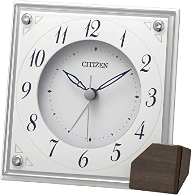 リズム(RHYTHM) 置き時計 白 11.4x11.5x4.8cm シチズン 目覚まし時計 アナログ 連続秒針 インテリア 8RG625-003