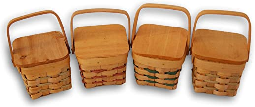 Mini Country Basket with Wooden Lid - Set of 4 - Square Shape