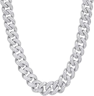 KRKC&CO 12mm Mens Iced Out Cuban Link Chain Hip Hop 14k Gold Cuban Curb Necklace, Cuban Link Choker, Prong Setting 5A Cubic Zirconia Stones Necklace, Hip Hop Jewelry 18 20 24 Inches
