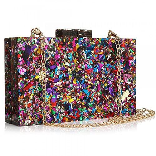 Acrylic Purses and Handbags for Women Multicolor Perspex Geometric Patterns Box Clutch Elegant Banquet Evening Crossbody Handbag (Multi-colored)