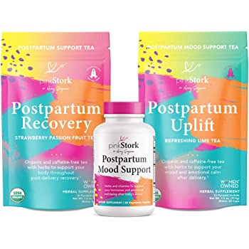 Pink Stork Postpartum Bundle: Postpartum Prenatal Vitamins + Uplift and Recovery Teas to Support Hormones + Healthy Mood + Ashwagandha, Women-Owned