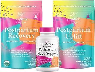 Pink Stork Postpartum Bundle: Postpartum Prenatal Vitamins, Uplift and Recovery Teas to Support Hormones, Healthy Mood, + Ashwagandha, Women-Owned