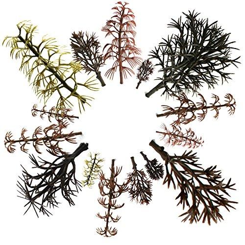 OrgMemory 29pcs Gemischtes Modellbau Bäume ohne Blätter(4 -14 cm), h0 Bäume, Spur n, Tabletop Gelände, Modellbau Gras, h0 Figuren mit No Stände