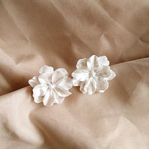 SALAN Nuovo Arrivo Dolce Resina Fiore Bianco Grande Clip su Orecchini per Le Donne Moda Semplice Regali del Partito
