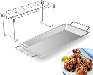 Dolloress Stainless Steel Grill Roaster Holder 12 Slot for Pepper Chili Chicken Wings Legs Barbecue Grill Accessories Drum...