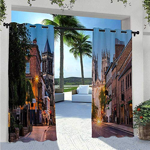 Outdoor Patio Curtain York Minster View in Evening Cityscape Historical Landmark Street in the England Thermal Insulated, Sun Blocking Blackout Curtains for Deck/Porch/Pergola/Balcony W96 x L84 Inch