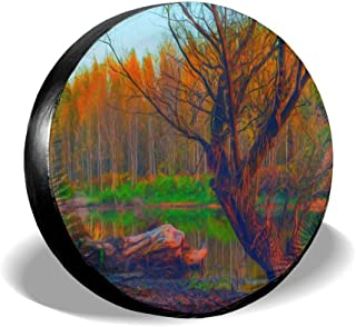 Spare Tire Cover Landscape Painting Showing Forest On Gloomy Autumn Day Universal Car Rear Tire Covers RV Wheel Cover Tires Protectors for Camper, Trailer, SUV, Truck, Boat, Motorhome, Waterproof