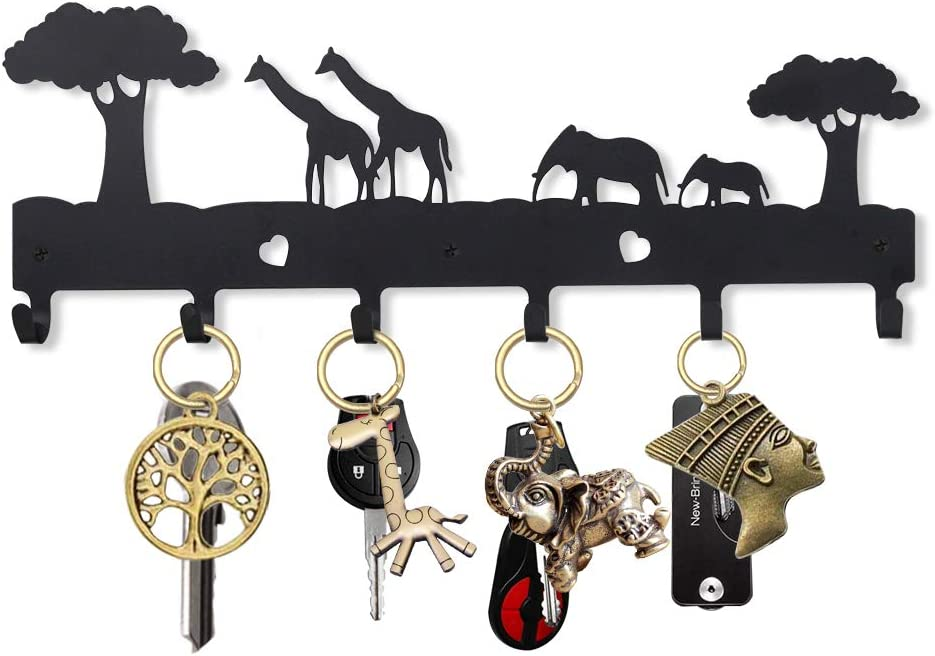 15.7 INCH 6-Hook Rack Decorative Metal Wall Hook Key Hanger Leash Hanger UptoBillions Key Holder for Wall Giraffe and Elephant Length