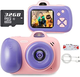 beiens Digital Video Camera for Kids, 24MP Selfie Dual Cameras, 32G SD Card, 1080P 2.0 inch HD IPS Screen, USB Charge, Best Birthday Gifts Kids Camera Toys for Girls and Boys (Pink)