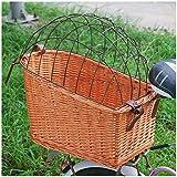 VPPV Cesta para Bicicletas con Mimbre, Tejidas a Mano Desmontable Accesorio de Bici Instalación Fácil para Perro Pequeño Gato