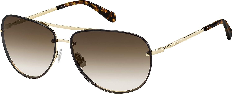 Fossil FOS 2084/S Pilot Sunglasses, Gold, 62mm, 13mm