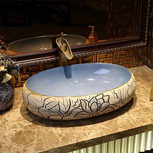 Rétro Art étape au-dessus du bassin de bassin de style industriel de bassin de lavabo Lavabo en céramique antique bassin de lavage de scène de place Meubles-lavabos (Couleur : B)