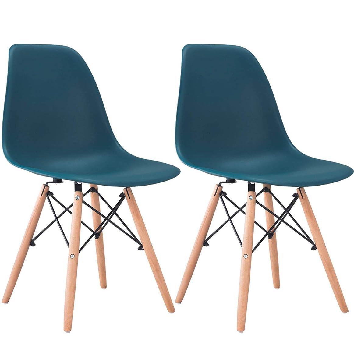 分岐する案件見る人椅子 イームズシェルチェアリプロダクト ダイニングチェアレストラン、リビング、キッチン、宴会、オフィス使用など (2脚セット) (ダークブルー) [並行輸入品]