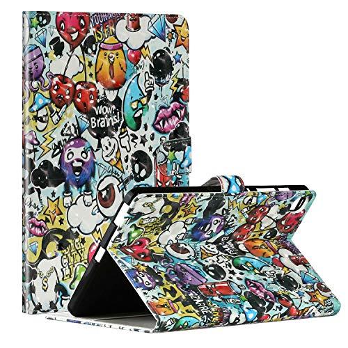 Miagon Tablet Hülle für Samsung Galaxy Tab S6 Lite {10.4 Zoll} 2020 P610,PU Leder 3D Muster Flip Brieftasche Case mit Standfunktion Kartenschlitz Stoßfest Cover,Graffiti