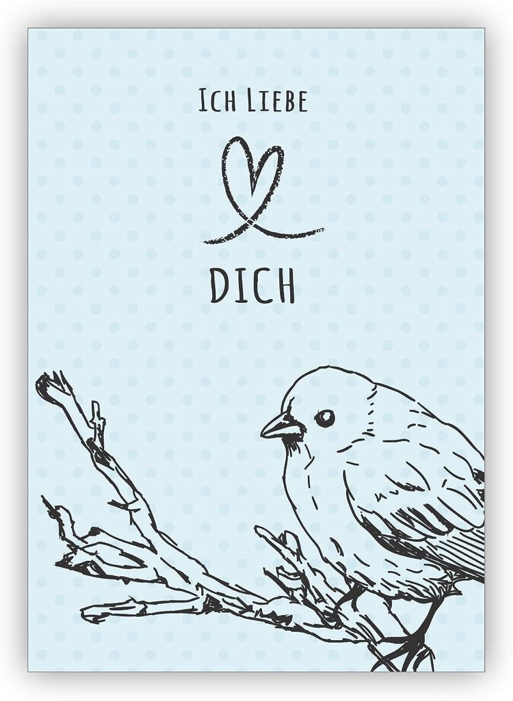 Im 16er Set privat & & & gewerblich  ) Romantische Liebes Grußkarte mit Umschlag mit Herz und Vogel nicht nur zum Valentinstag  Ich liebe Dich - auch für Firmen Kunden und Geschäftspartner B076BPZL5T | Neue Sorten werden eingeführt  423aa2