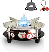Portable Cooking Gas Stove Burner 10,000 BTU Dual Fuel Propane or Butane Patio Backpacking Stove with Propane Regulator hose & Storage Bag for Outdoor, Hiking,Camping,Home Brewing Equipment