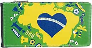 Heart-shaped Orderm E Proresso Slogan Soccer Palm Brazil Maps Multi-Card Faux Leather Rectangle Wallet Card Purse Gift