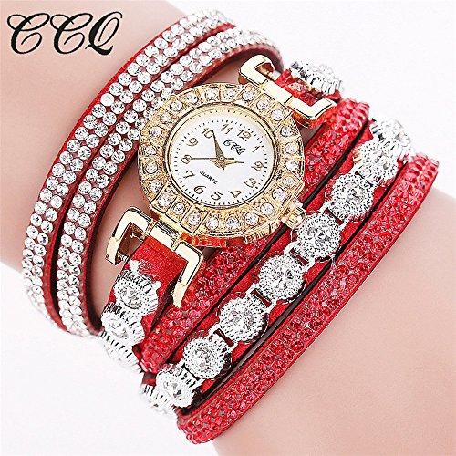jieGorge Reloj para Mujer, Reloj de Pulsera con Diamantes de imitación analógico Informal de Moda para Mujer RD, joyería y Relojes (Rojo)