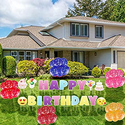 SKO Ecom Happy Birthday Yard Signs with Stakes. 19-Packs Happy Birthday Lawn Letters Set with 30 Balloons, Colourful Outdoor Yard Decoration with Bright Letters Made of Weatherproof Corrugated