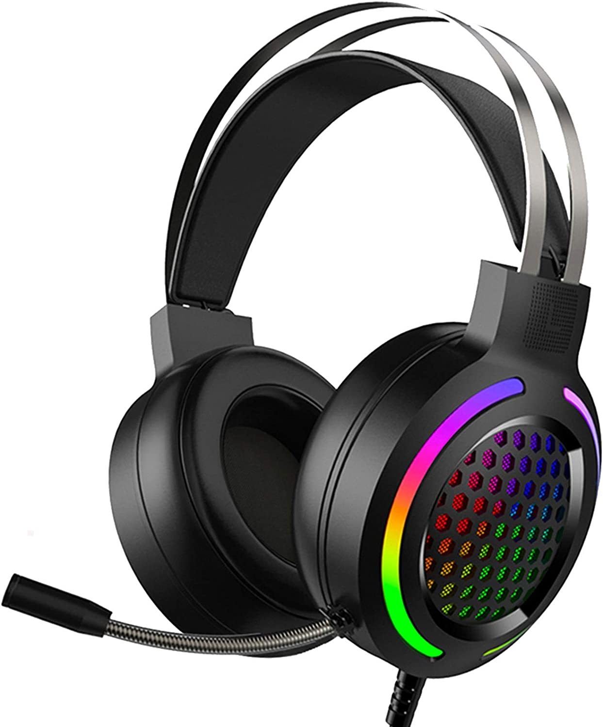 Gaming Headset with 7.1 Surround Sound,PC Headset with Noise Canceling Mic,Bass Surround,Soft Memory Earmuffs,Rainbow LED Backlit,Compatible with PC,PS4,Xbox One Controller(Adapter Not Included)