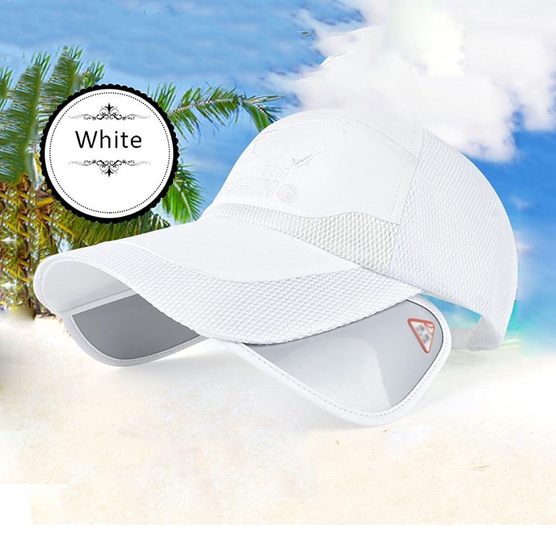 等々下着社会Yxsd 夏野球帽、ユニセックスサンハット、メッシュ通気性ゴルフキャップ、屋外登山クライミングバイザー、広げ帽子庇撤退可能な太陽UVミラー (Color : White)