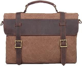 Genda 2Archer Men's Vintage Canvas Leather Messenger Briefcase Travel Shoulder Bag
