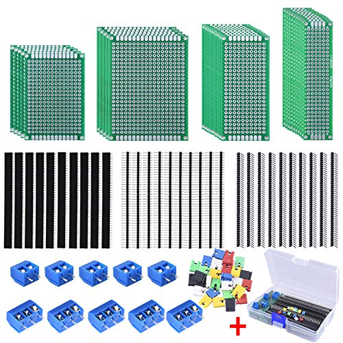 AUSTOR 100 Pcs PCB Board Kit Including 30 Pcs PCB Boards 30 Pcs 40 Pin 2.54mm Header Connector(Bonus: 10 Pcs 2P&3P Terminal Blocks and 30 Pcs Caps)