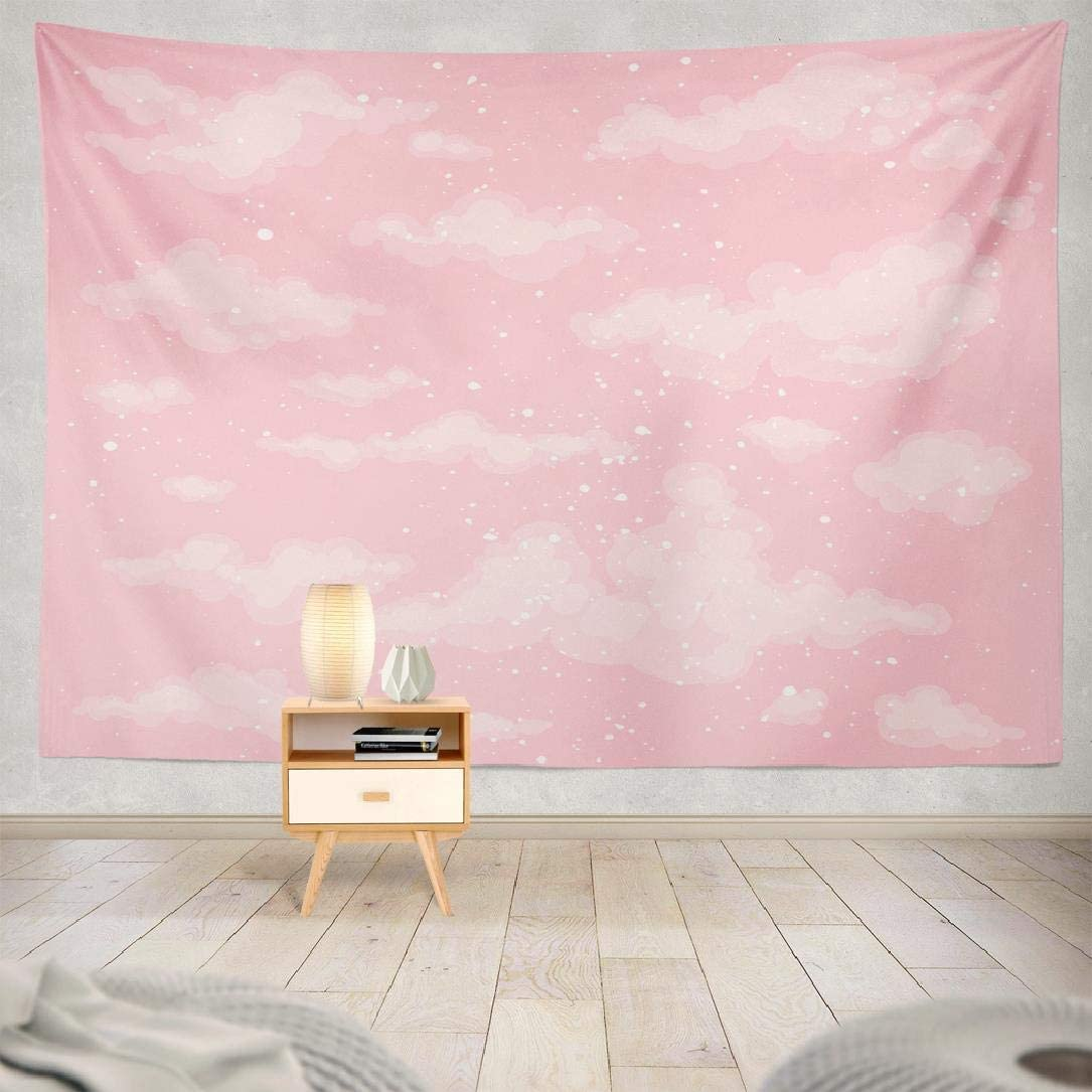 Pink Sky Tapestry ,Lshtar Decor Tapestry Cute Heaven Pink Sky Cloud Air Backdrop Beautiful Beauty Bright Day Wall Hanging Tapestry 80 W x 60 L,For Room Cute Heaven Pink 05
