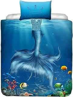 Housse de Couette Ariel 140x200 cm AYMAX S.P.R.L Taie doreiller 65x65 cm Parure de lit Disney La Petite Sir/ène 100/% Coton