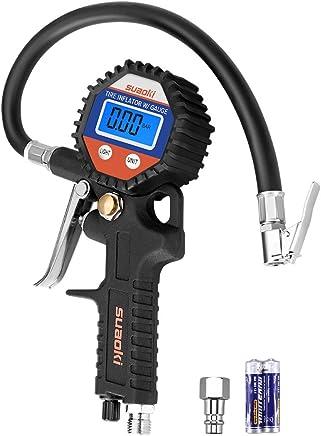 Suaoki - 150 PSI Manómetro Digital, Medidor de Presión de Neumáticos con Manguera y Acoplador para Motocicleta, Bcicleta y Coche