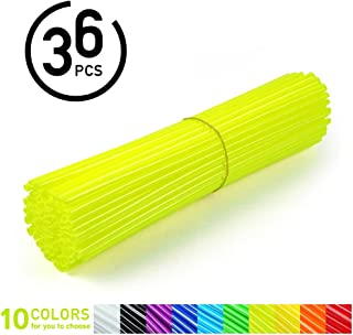 36Pcs Spoke Skins,Motorcycle Dirt Bike Enduro Wheel Motocross Spoke Skins Rims Covers Road Guard Wraps Coats -10 Colors (Color : Fluorescent yellow)