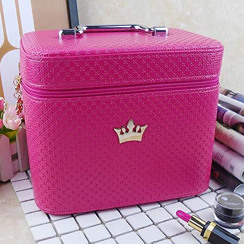 Trousse de Maquillage Femme Maquillage en Cuir Boîte cosmétique Voyage Boîte de Rangement Organisateur Grand Espace de Lavage Sac (Color : Rose Pink, Size : 24x17.5x20cm)