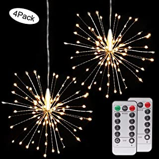 FOOING 4Pcs 120 LED Copper Wire Firework Lights Battery Operated Fairy Lights with Remote,8 Modes Starburst Lights Waterproof,Christmas Decorative Hanging Lights for Party Patio Bedroom,Warm White