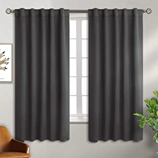BGment Rod Pocket and Back Tab Grey Blackout Curtains for Bedroom - Thermal Insulated Room Darkening Curtains for Living Room, 2 Window Curtain Panels (42 x 63 Inch, Dark Grey)