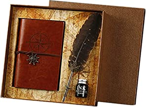 Leather Journal Notebook and Feather Pen Set, Glodeals Retro Vintage Spiral Diary with Quill Pen Ink Set