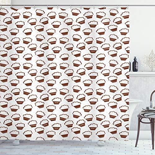 ABAKUHAUS Dessert Duschvorhang, Vanille Cupcakes, Klare Farben aus Stoff inkl.12 Haken Farbfest Schimmel & Wasser Resistent, 175x180 cm, rotbraun Weiß