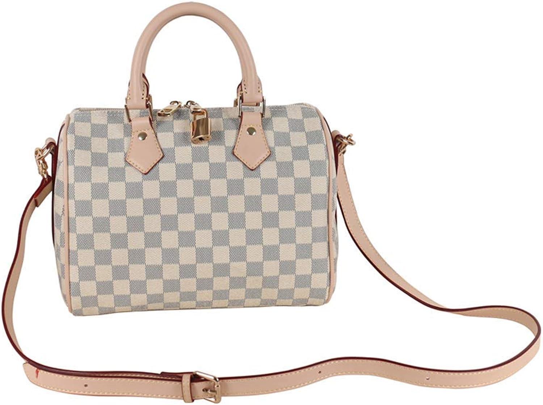ELVe Womens White Canvas Speedy Tote Bag Travel Bag