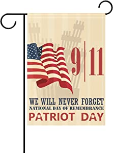 U LIFE Retro Vintage Patriotic American 911 Decorative Garden Yard Flag Banner for National Patriot Memorial Rememberance Day Outside House Flower Pot Double Side Print 40 x 28 & 12 x 18 Inch Brown