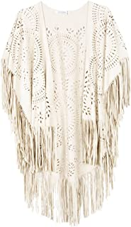 CHOiES record your inspired fashion Women's Suedette Cut Out Asymmetric Fringed Cape Kimono Blue Blouse with Tassel