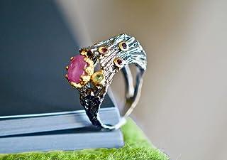 Handcut 2.6ct Garnet Silver Ring