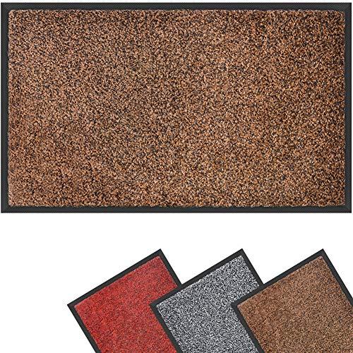 Dor Mibao Schmutzfangmatte Fußmatte für Innen und Außen, Braun Schwarz,120x180cm, rutschfeste waschbare Türmatte Sauberlaufmatte, strapazierfähiger Fußabtreter schnelltrocknend 5 Größe
