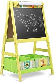 Lalaloom SWEET BOARD - Pizarra infantil con caballete de madera verde juguete con doble cara habitación niños pizarra magnética y de tiza con espacio almacenaje 45x54x93cm