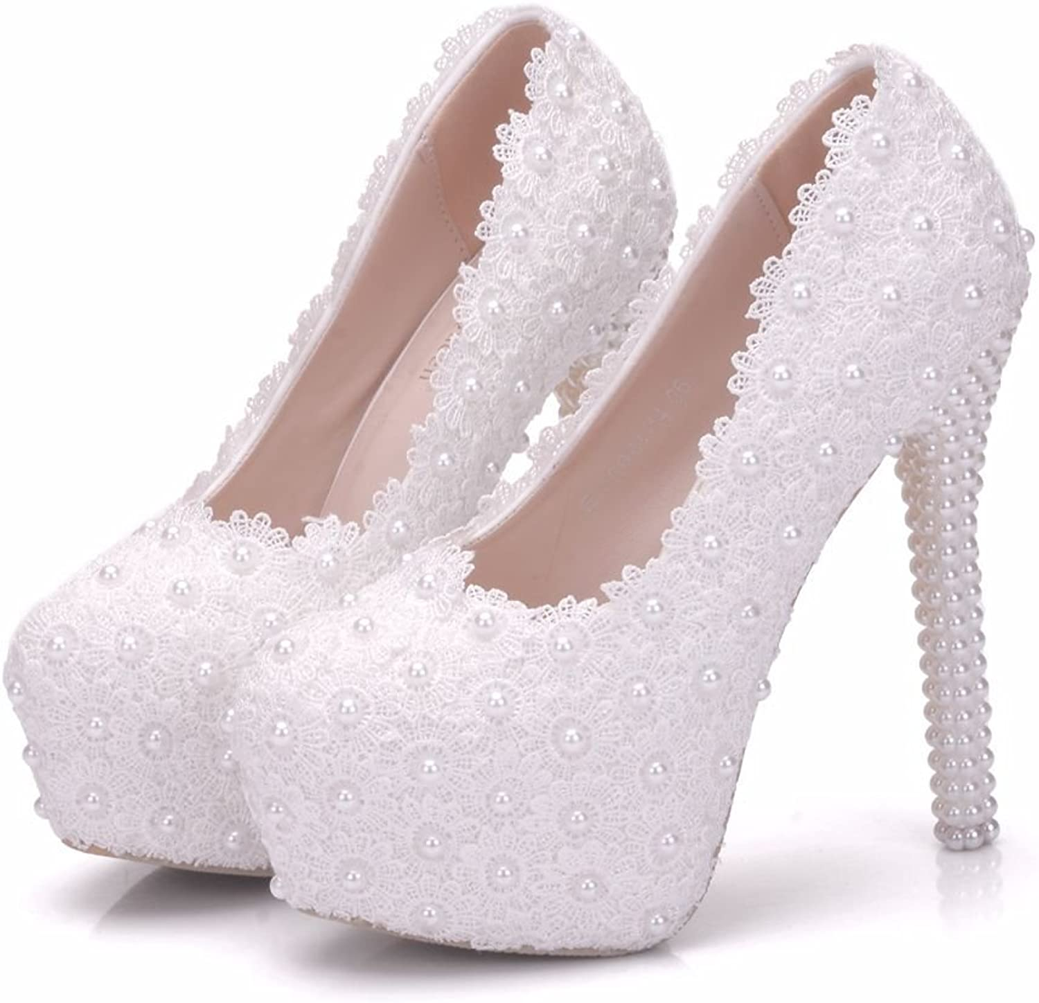 Crystal Queen White Lace Bridal Wedding shoes Thin Heels Round Toe Platform Pumps White Lace Wedding shoes High Heels shoes