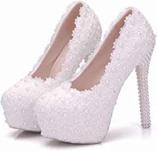 White Lace Bridal Wedding Shoes Thin Heels Round Toe Platform Pumps White Lace Wedding Shoes High Heels Shoes