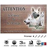 Pets-Easy-Placa para advertir de perro guardián, diseño de pastor blanco suizo de pelo corto