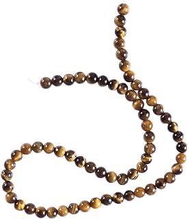 healifty 64pcs Natural Ojo de tigre piedra perlas piedras preciosas redondas perlas de múltiple para DIY Joyas hacen Halla...
