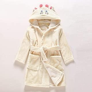 LHWY-Peignoir Fille Gar/çon Serviette pour Le Cadeau de No/ël Robe Bain Enfant Double Layer Flanelle Automne Hiver /Épaissir V/êtements De Pyjama Vache L/éopard 1-10 Ans