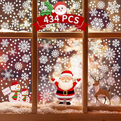 Kidtion Christmas Window Clings, 434 PCS Snowflake Widow Clings, 5 Patterns Window Decals, Cute Snowflake Decals, 12 Sheets Window Stickers & Christmas Decorations, Party Decorations for Glass Window