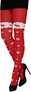 CRÖNERT Damen Strumpfhose Strickstrumpfhose Schneesterne und Hirsche 72655 rot
